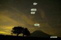星空のサクランボの木と羊蹄山空・人工衛星