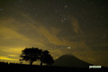 星空のサクランボの木と羊蹄山・人工衛星