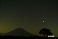 サクランボの木と羊蹄山~皆既中の月と流星