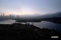 日の出前の神仙沼湿原