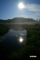 月夜の神仙沼湿原~池塘に映える月