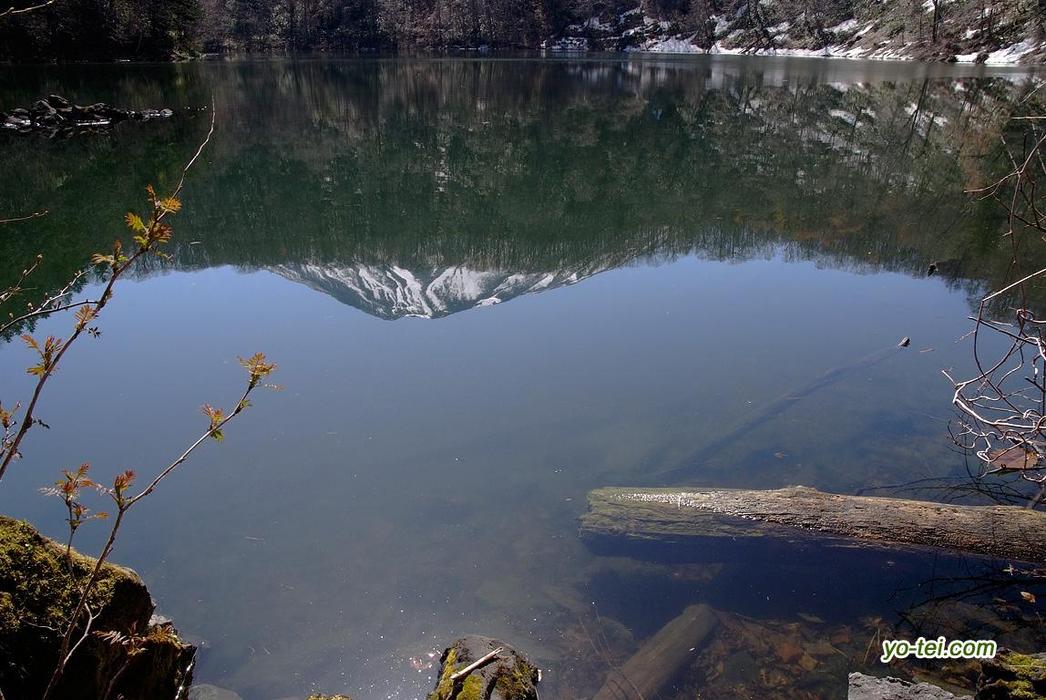 半月湖と湖面の羊蹄山