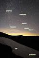 小火口(母釜)の残雪と木星・カシオペヤ座・ペルセウス座・アンドロメダ座他