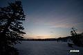 残雪の神仙沼湿原・朝焼け