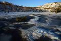 朝陽の湿原と神仙沼(融雪と解氷・再凍結)