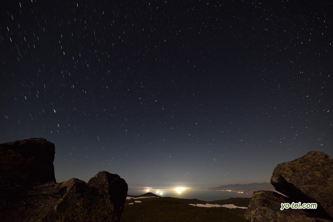 漁火と北の星空