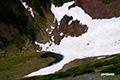 父釜(大火口)の残雪とつかの間の池