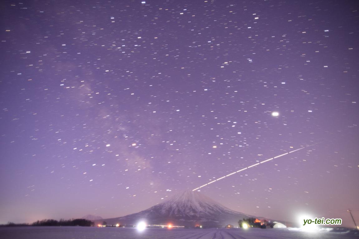 羊蹄山とISS(国際宇宙ステーション)