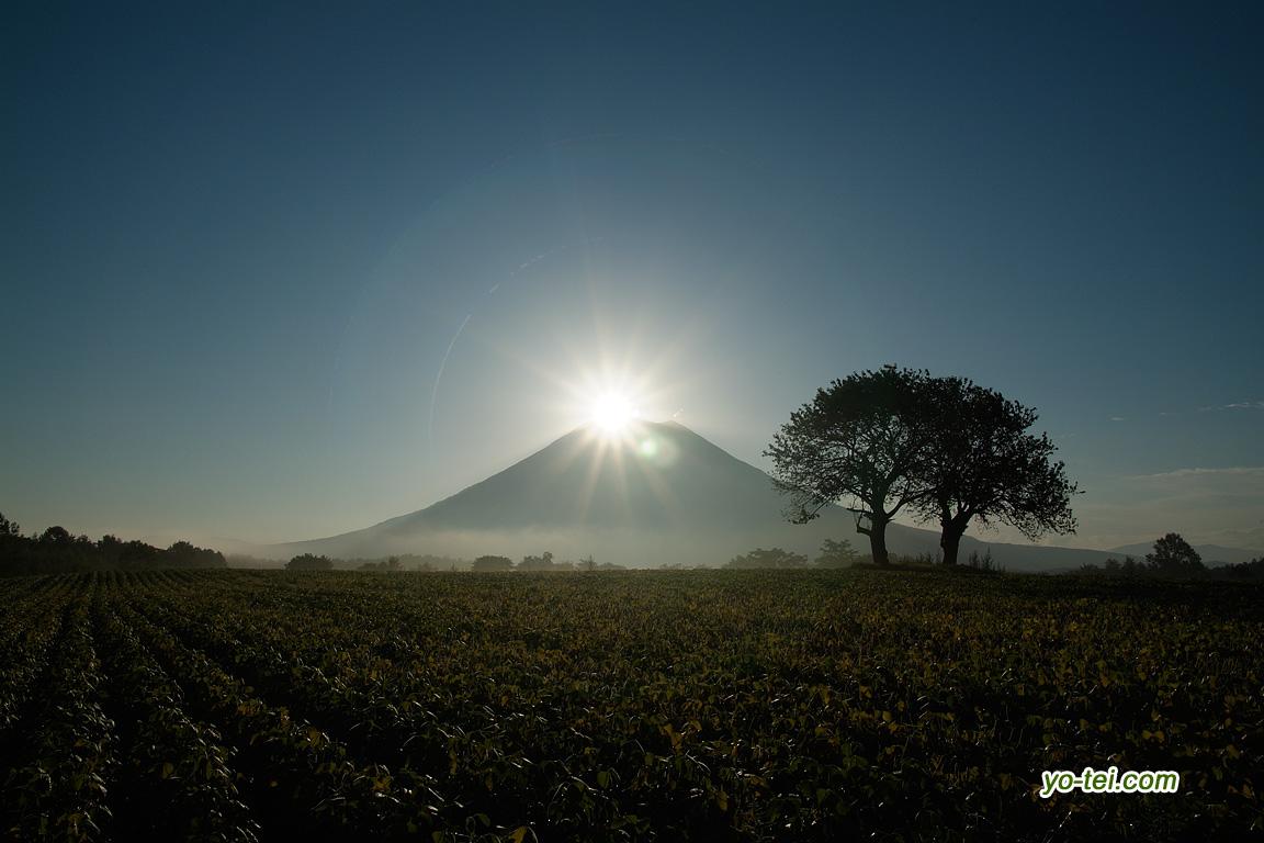 羊蹄山から出る太陽