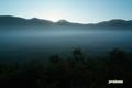 朝日が射す直前の大谷地