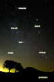 冬の星座と火星