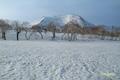 残雪の神仙沼湿原から見る「チセヌプリ」