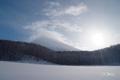 雲に覆われた羊蹄山