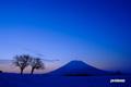 夜明け間近の羊蹄山・木星