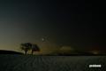皆既月食~サクランボの木と羊蹄山