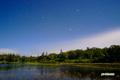 月夜の神仙沼と星
